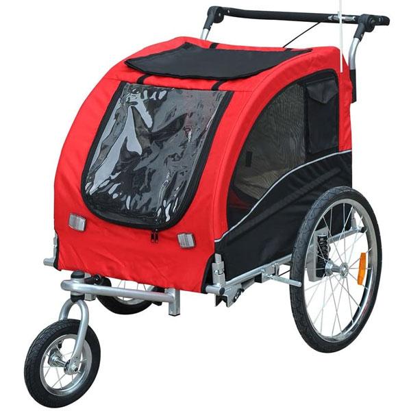 Hundebuggy rot fürs Fahrrad